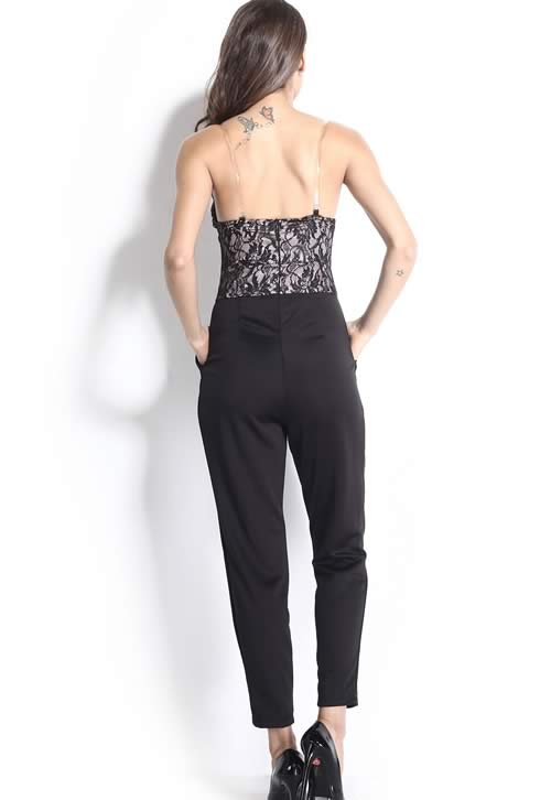 Off The Shoulder Lace Bodice Bandeau Jumpsuit in Black