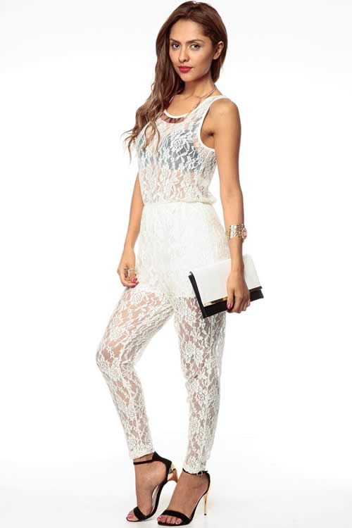 Sleeveless Lace Scoop Neck Harem Jumpsuit in White