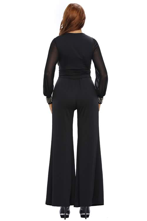 Stud Cuffs Mesh Long Sleeve Wide Leg Jumpsuit in Black