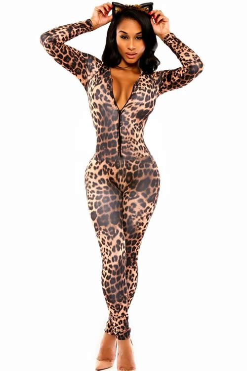 Long Sleeve Cat Leopard Print Club Jumpsuit in Brown