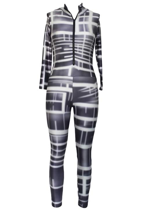 Long Sleeve High Neck Striped Print Bodycon Jumpsuit in Black