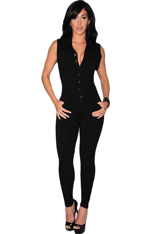 Sleeveless V Neck Button Front Jumpsuit in Black