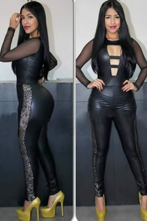 Mesh Long Sleeve Cutout Leather Jumpsuit in Black