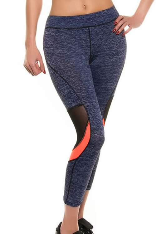 Sporty Mesh Crop Yoga Pants in Blue