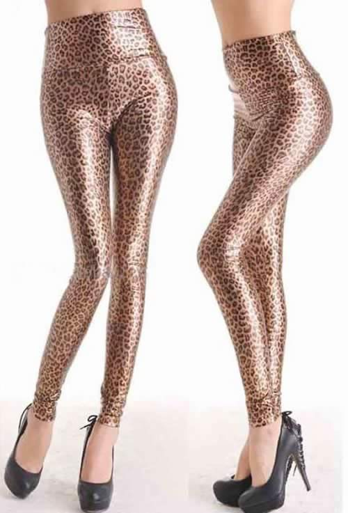 Shiny Women Leopard Faux Leather Leggings