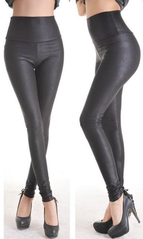 Deep Black Faux Leather Leggings for Women