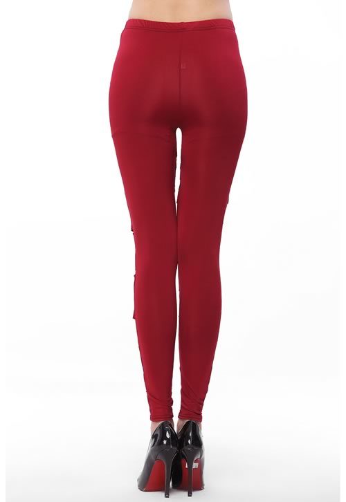 Sexy Women Red Stretch Lame Leggings Pencil Pants