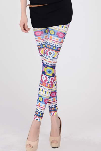 Women Colorful Geometric Printed Leggings
