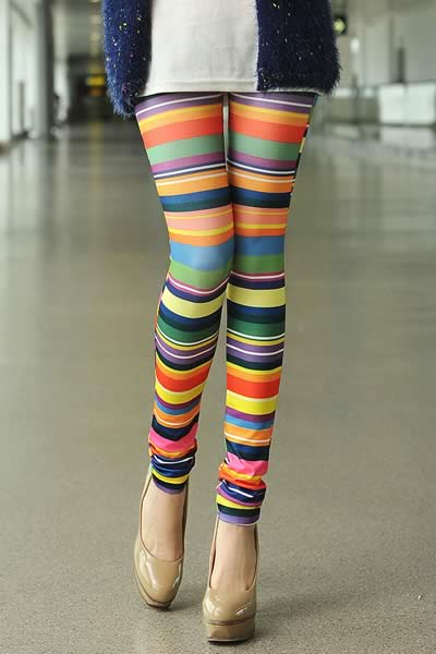Multicolor Stripe Printed Leggings for Women
