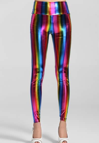 High Waist Fluorescent Rainbow Leggings for Sale