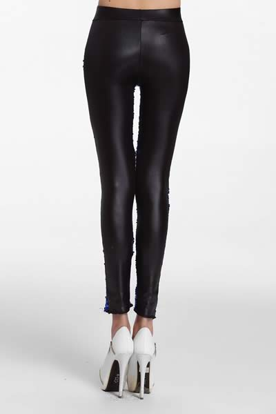 Women Sequin Front PU Leggings Pants in Blue