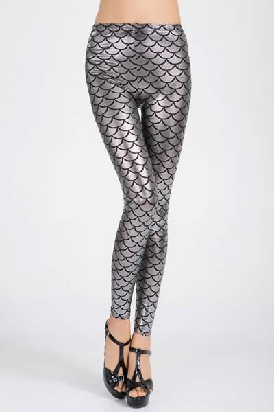 Silver Metallic Fish Scale Leggings for Women