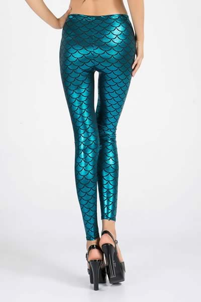 Blue Metallic Fish Scale Leggings for Women