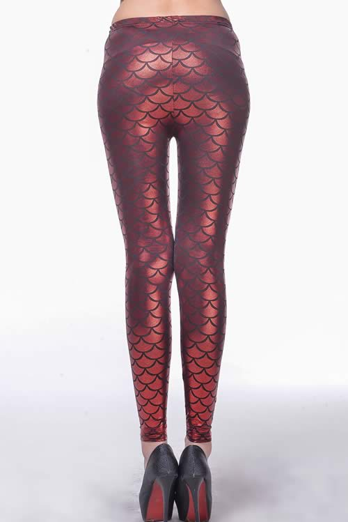 Red Metallic Fish Scale Leggings for Women