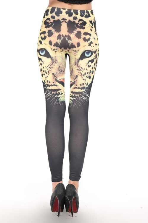 Black Leopard Print Leggings for Women
