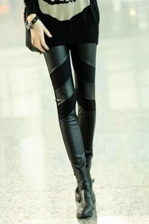Best Black Leather Patchwork Leggings for Women