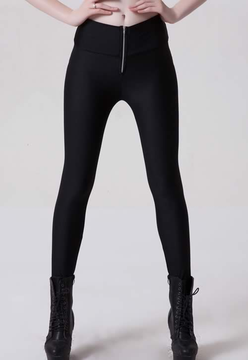 Black Fluorescent Front Zipper Leggings