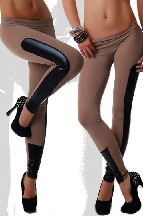 Coffee Faux Leather Stretch Leggings for Women