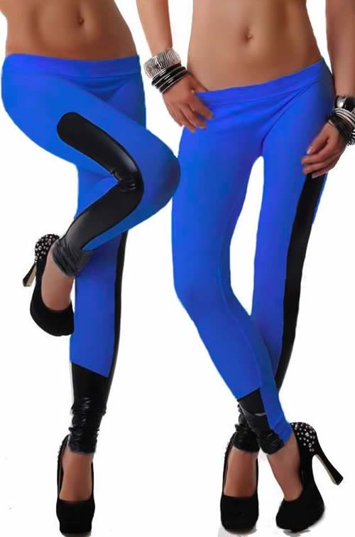 Blue Faux Leather Stretch Leggings for Women