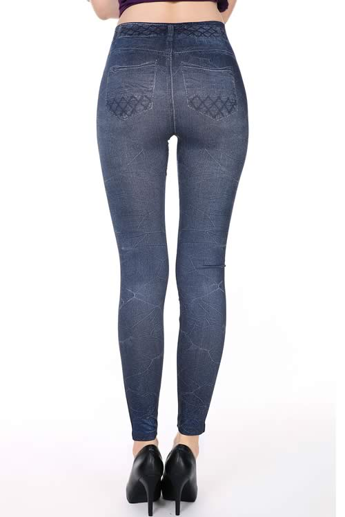 Trendy Jeans Fishnet Print Skinny Leggings in Blue
