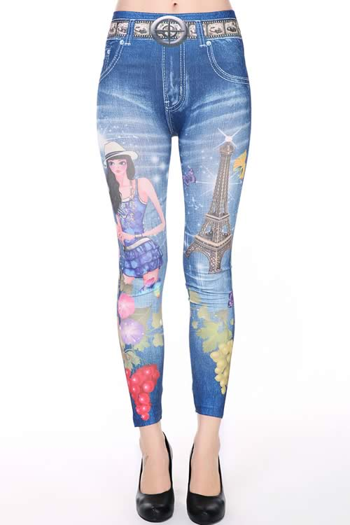 Fashion Girl Print Slimming Jeans Leggings