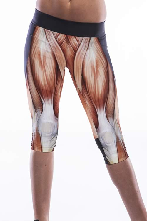 Brown Muscle Print High Waist Workout Capris Leggings
