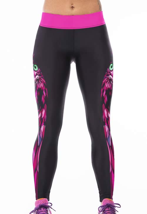 Women Black Stretch Yoga Owl Leggings