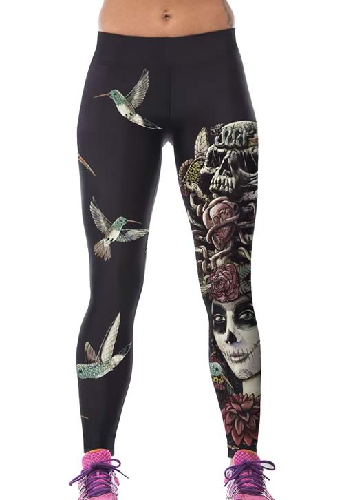 Black Skull Queen Punk Leggings for Women