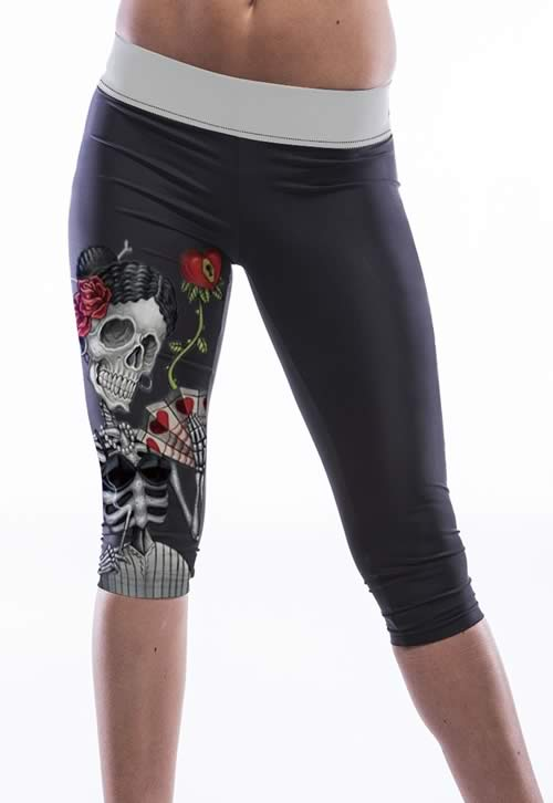 Black Skull Girl Print Knee Length Yoga Leggings