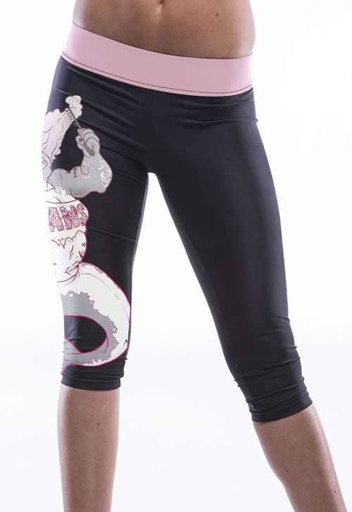 Women Mermaid Print Knee Length Yoga Pants