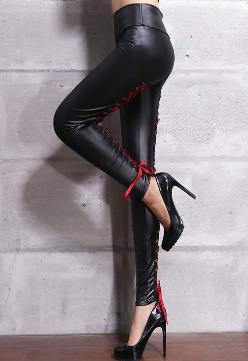 Red Lace Up Stretch Leather Leggings for Women