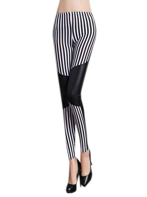 Black White Stripes Patchwork Leather Leggings