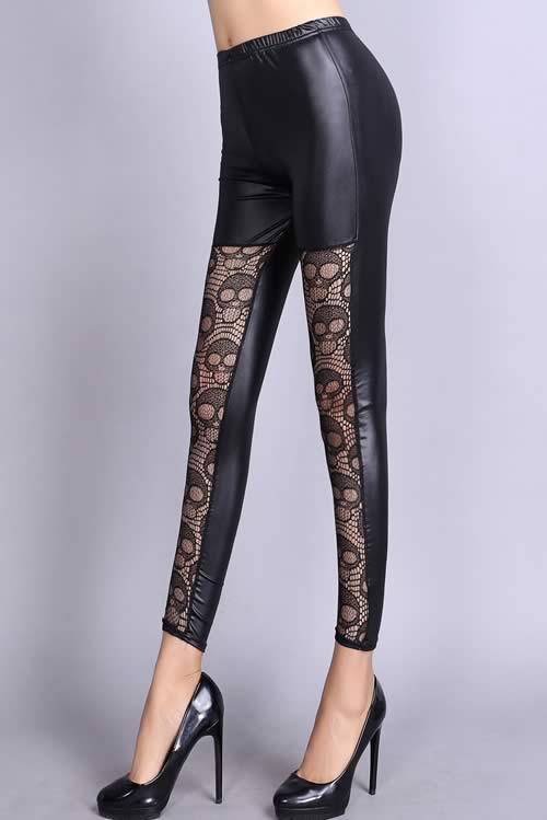 Black Skull Lace Splice Leather Leggings for Women