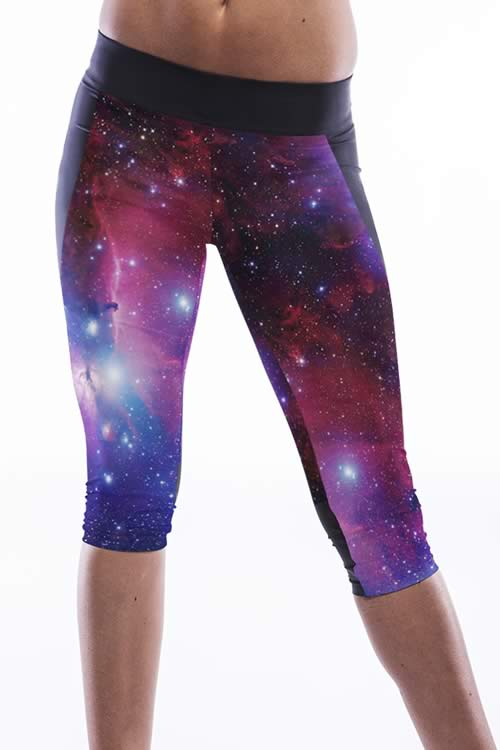 Women Galaxy Print Sports Capris for Sale