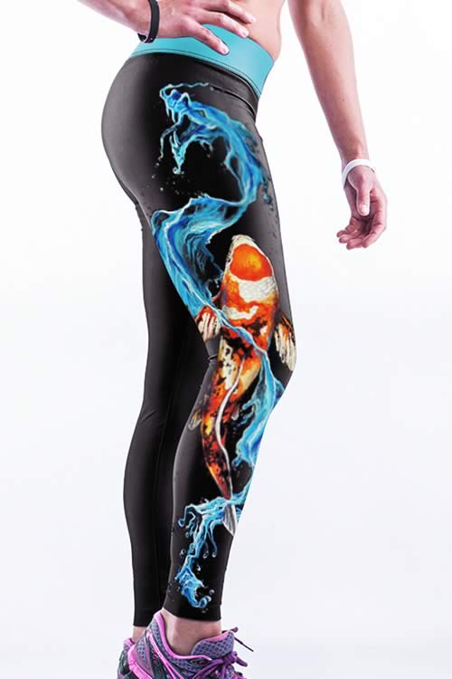 Women High Waisted Fish Gym Yoga Running Sports Pants