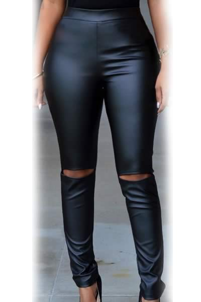 Women Black Faux Leather Cut Out Leggings