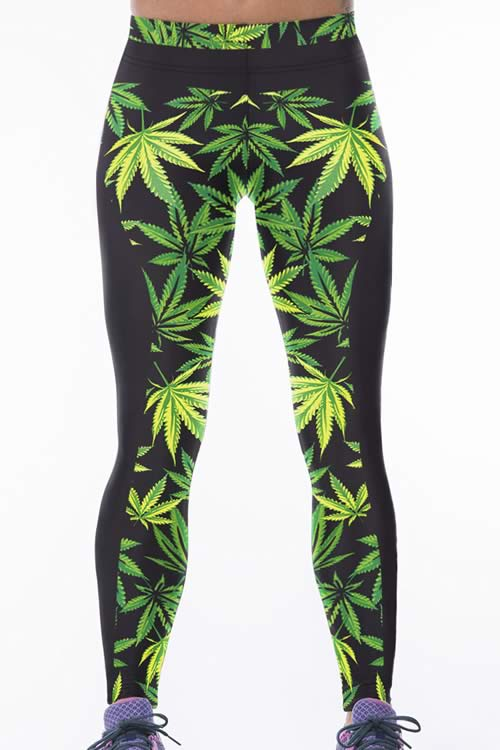 Women Green Leaf Printed Stretch Yoga Pants