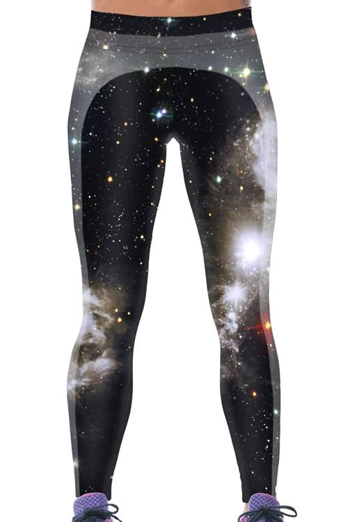 Black Galaxy World 3D Printed Yoga Pants for Women