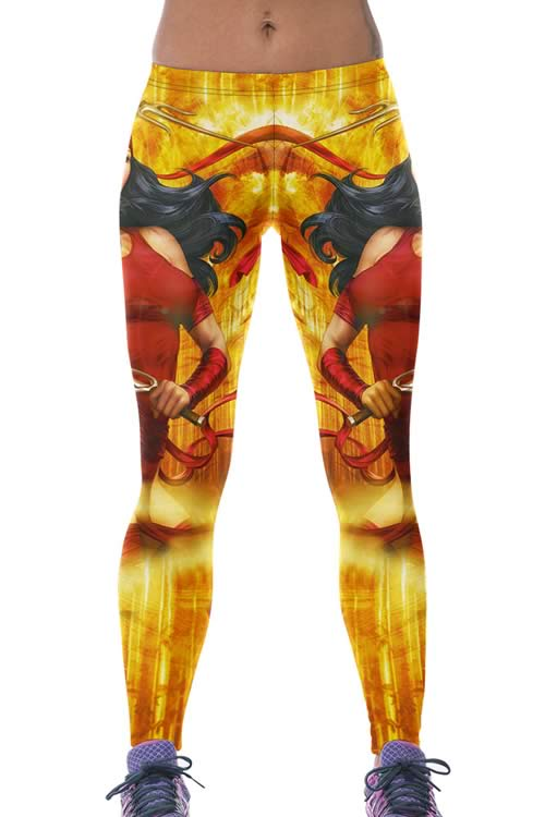 Gold Trojan Queen Printed Yoga Leggings