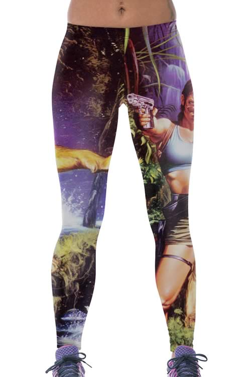 Female Warrior Shoot Lion Leggings