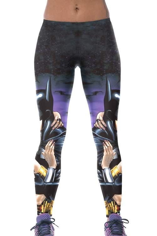Batman Kissing Wonder Woman Print Leggings for Sale