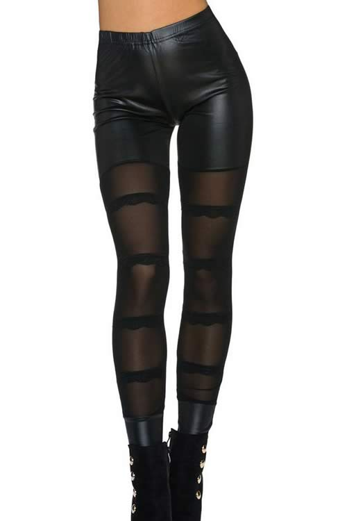 Women Black Sheer Mesh Skinny Leggings