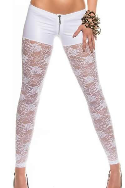White Metallic Shorts Attached Lace Leggings