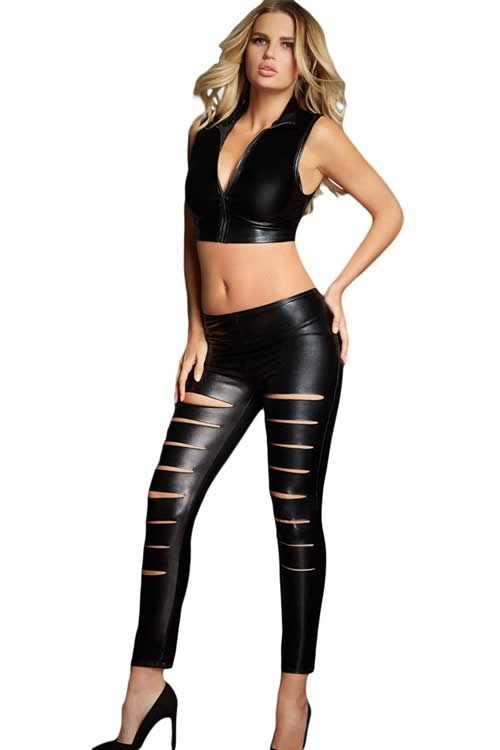Black Leather Look Ribbed Slit Front Leggings