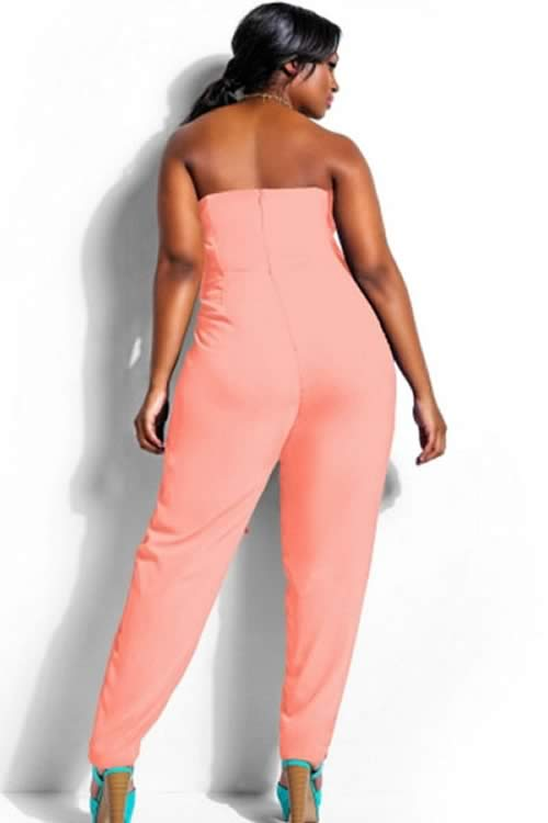 Plus Size High Waisted Strapless Jumpsuit in Pink