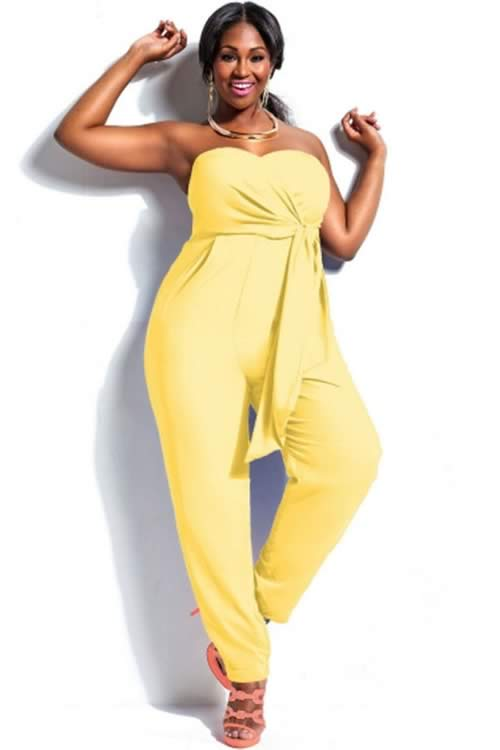 Plus Size High Waisted Strapless Jumpsuit in Yellow