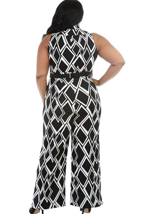 Plus Size Sleeveless Box Printed Wide Leg Jumpsuit in Black