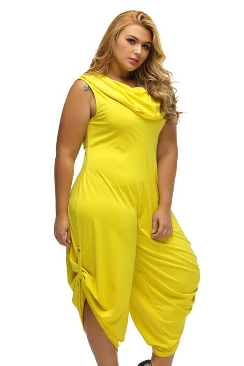 Cowl Neck Plus Size Loose Fitted Harem Jumpsuit in Yellow