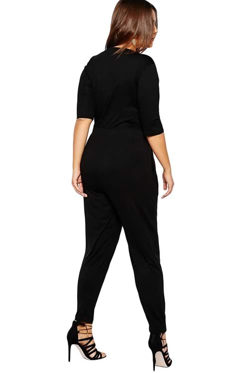 Plus Size 3/4 Sleeve V Neck Tapered Leg Jumpsuit in Black