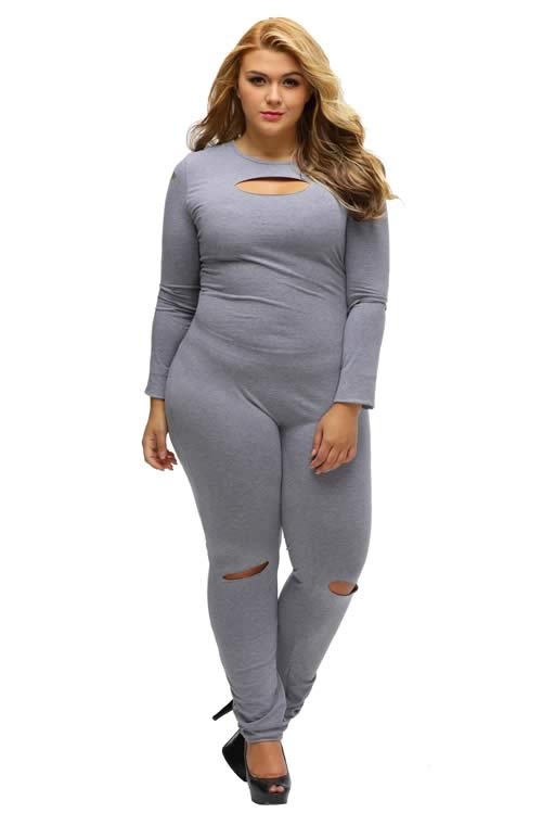 Plus Size Slit Long Sleeve Cut Out Jumpsuit in Grey